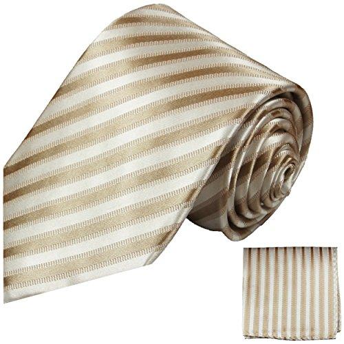 Cravate homme blanc marron rayée ensemble de cravate 2 Pièces ( longueur 165cm )