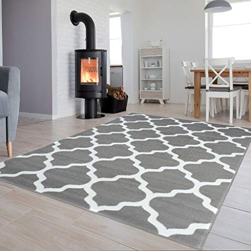 Marokkanisches Gitter (Tapiso Luxury Teppich Kurzflor Modern Marokkanisch Geometrisch Kleeblatt Gitter Muster Hellgrau Weiss Wohnzimmer ÖKOTEX 250 x 300 cm)