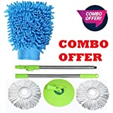 Ivaan Universal Stainless Steel Rod Stick Rotating Pole Cleaning Mop with Magic Colorful Microfibre Static Duster (Multicolour, Standard Size)