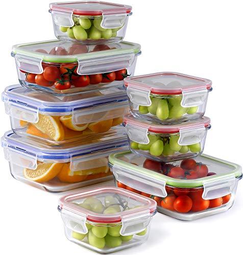 Frischhaltedose Set (8 Stück, 3 Größen) | Meal Prep Vorratsdosen Glas Luftdicht | Glasbehälter Mit Deckel Set | Perfekte Frischhaltedosen Vorratsbehälter | Für Ofen, Mikrowelle, Gefrierschrank