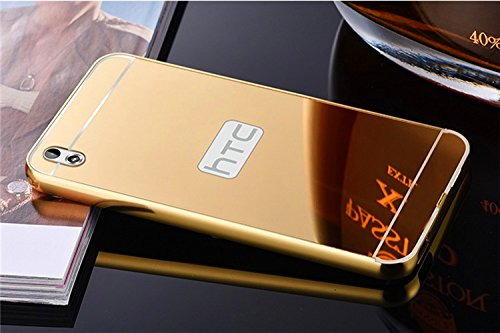 Kapa Luxury Mirror Effect Acrylic back + Metal Bumper Case Cover for HTC Desire 816 - Gold