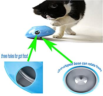 Distributeur de nourriture pour chats Pet Gyro-Shaped jouet bols, y compris le fond en silicone et la base de PC, pour animaux de compagnie chat ralentit l'alimentation, augmente IQ et stimulation mentale.Easy Clean (6,9 X 1,97 po) (L)