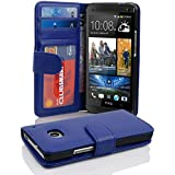 HTC ONE M7 (1. Gen.) Hülle in BLAU von Cadorabo - Handy-Hülle mit 3 Kartenfächer und Standfunktion für HTC ONE M7 (1. Gen.) Case Cover Schutz-hülle Etui Tasche Book Klapp Style in NEPTUN-BLAU