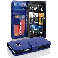 HTC ONE M7 (1. Gen.) Hülle in BLAU von Cadorabo - Handyhülle mit 3 Kartenfächer für HTC ONE M7 (1. Gen.) Case Cover Schutzhülle Etui Tasche Book Klapp Style in NEPTUN BLAU
