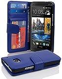 Cadorabo Hülle für HTC One M7 (1. Gen.) Hülle in NEPTUN blau Handyhülle mit 3 Kartenfächern Case Cover Schutzhülle Etui Tasche Book Klapp Style Neptun-Blau