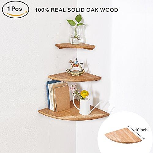 Eckregal aus Holz 1 Stück, runde Enden, Eichenholz, Bücherregal, Massivholz ,Radius 25cm