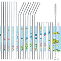 """Brilife Borosilicate Glass Drinking Straws,8.5"""" x 10mm Perfect for Milkshakes,Smoothies and Most Drinks,Pack of 12(4x Long Straight Straws,4x Long Bent Straws,4x Short Straight Straws) (Clear)"""