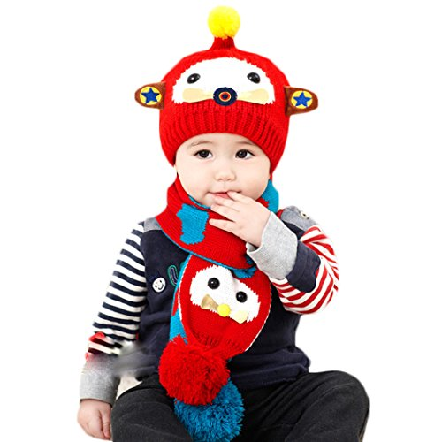 Hikfly Winter Strickmütze Schal Set für Baby Mädchen Jungen Kleinkinder Outdoor Sports Thermische Beanie Cap Hüte Mützen Warmer Schal Weihnachtsgeschenk (6-36 monate) (Rot, P) (Stricken Rock Reisen,)