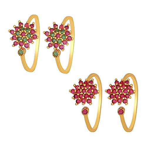 Much More Ethnic Royal Look Design Crystal Work Toe Ring for Women & Girls Jewelry (Green & Pink)