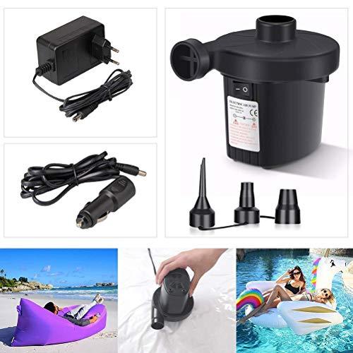 Zczuox pompa elettrica, piccola gonfiatore air pump materasso gonfiabile/campeggio/ cuscino/letto/ barca/anello nuotata/gommone giocattoli compressore elettrico gonfiando sgonfiando 3 ugelli nero