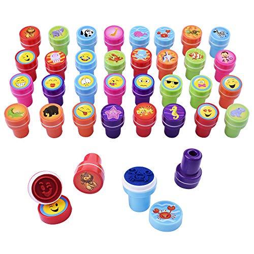 Gudotra 32pz emoji+animali marini+animali selvaggio giocattoli di timbrini per bambini gadget compleanno bambini regalo bomboniere natale (emoji& animali-32pz)
