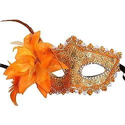 MIRRAY Femmes Sexy Noir Dentelle Oeil Visage Masque Mascarade Parti Bal De Bal Costume Charmes Orange