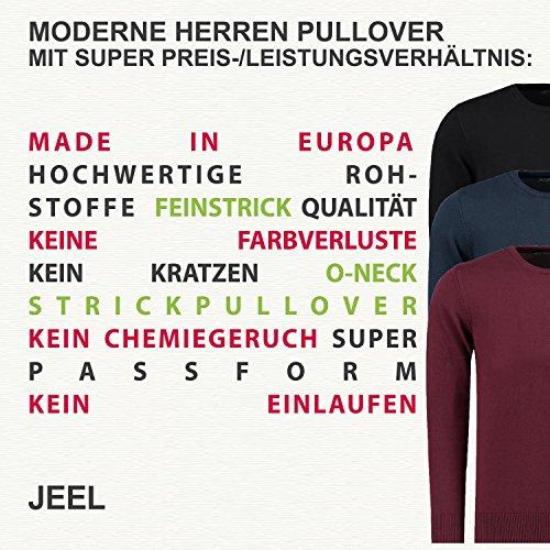 JEEL Herren Strickpullover Feinstrick - Rundhals - Slim-Fit / Figurbetont - hochwertige Baumwollmischung Navy