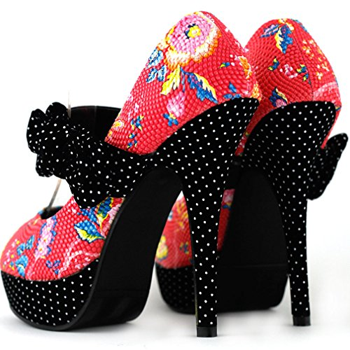 Black/Red Spot polka dot Bow floral show histoire plate-forme Mary Jane pompes, LF30457 Rouge