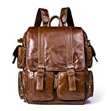 YFYBF Casual in Pelle retrò da Uomo Zaino della Pelle Bovina Multi Tasche 13 inch Laptop Backpack Il Sacchetto di Corsa di Scuola Adventure Bag,Marrone