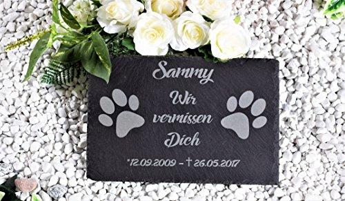 CHRISCK design Gedenktafel mit Gravur Grabstein Tatzen Gedenkstein Schiefer-Tafel Grabplatte graviert Pfoten Pfötchen 30x20 cm für Hunde und Katzen Grabschmuck Hunde Katze