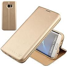 Nouske étui à rabat Folio en cuir pour Samsung Galaxy s7 Edge, Cover Coque TPU Porte cartes avec Support Protection intégrale,Or.