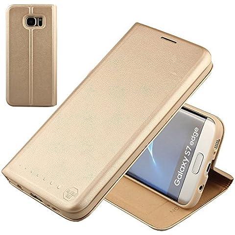 Nouske Samsung Galaxy S7 Edge Funda protectora de tipo Cartera para teléfonos móviles/TPU protección frente a golpes/Estuche para tarjetas de crédito/Soporte/Conciso y Ultra delgado/Hebilla magnética,Oro.