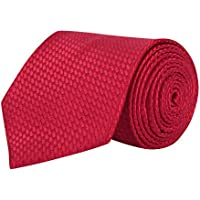 BARATA Men's Formal Checks Ties, Free Size (Red, 529T)