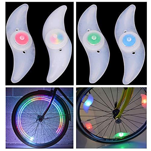 AIGUOZER LED Speichenreflektoren Speichenlicht Fahrrad Reflektoren LED Fahrrad Rad Lichter Fahrradbeleuchtung Modern Coole Fahrrad Beleuchtung Fahrraddekoration Mehrfarbig 4 Stück