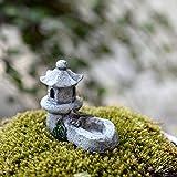 Teich-und-Turm-Figur für Feengarten, Mini-Skulptur, Retro, Stein, Landschaftsornament, hohe Qualität (Farbauswahl zufällig)