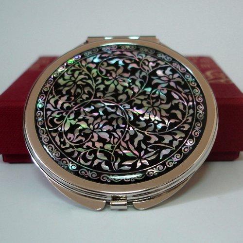 Miroir de Poche Monture Double Grossissant Nacre Style Art floral Arabesque Asie