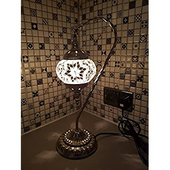 Turkishmoroccan lamp glass desk table lamp with uk plug and switch turkish swan lamp moroccan light superior quality mosaic glass silver base ce aloadofball Gallery