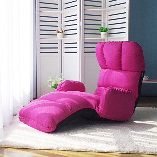 Multifonction Canapé pliant,Réglable Fauteuil,Siesta Canapé paresseux Chaise de plancher Divan-lits Balcon Loisir Chaise Détachable Chaise lounge-Rose