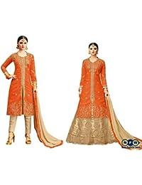 NewFashionWeek Women's Orange Colored Art Silk Zari & Resham Embroidery With Stone Work Semi Stitched Salwar Suit...