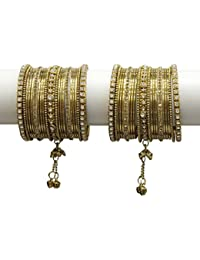 Much More 18k Gold Plated Charming Latkan Metal Bangle Set For Women & Girls Jewelry