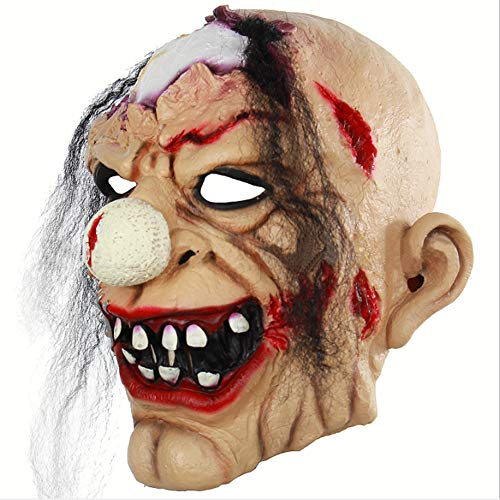 Axdnh halloween bloody horror mask, ghost festival clown zombie horror latex mask party trucchi spaventosi puntelli halloween ball dress up copricapo
