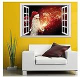 Weihnachten 3D-Effekt Falsches Fenster Wandtattoo 'Weihnachtsmann' | Elch | Merry Christmas | selbstklebendes Wandbild | Wandsticker |DIY|Wallpaper |Wandaufkleber | Tattoo, Größe:70x50 cm , Color 1