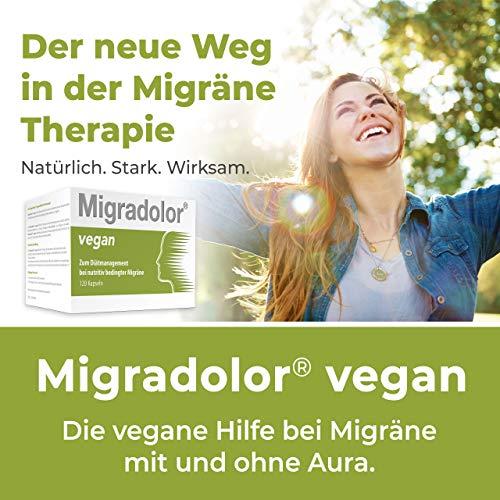 Migradolor Vegan – Die natürliche Hilfe bei Migräne & Kopfschmerzen – Nicht-Medikamentöse Migräne-Prophylaxe (120 vegane Cellulose Kapseln)