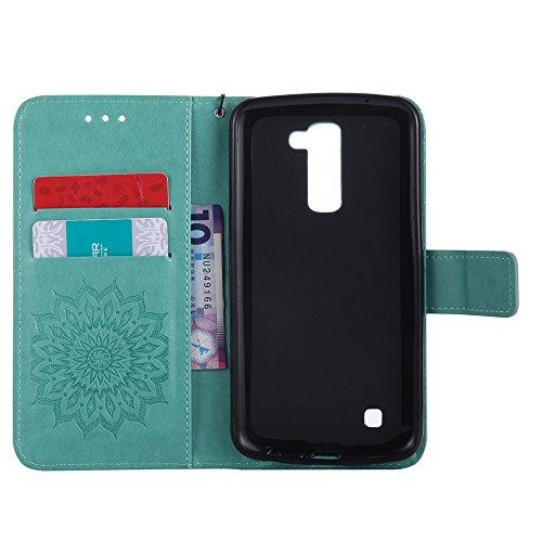 Für LG K10 Fall, Prägen Sonnenblume Magnetische Muster Premium Weiche PU Leder Brieftasche Stand Case Cover mit Lanyard & Halter & Card Slots ( Color : Pink ) Green