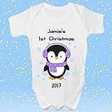 44th Street Ltd personalisiert Niedlicher Strampler Körper Weste erste 1. Weihnachten Geburtstag Babyparty Geschenk Süß Pinguin DE5