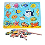 Yikky magnetisches hölzernes Fischen-Spiel und Puzzlespiel mit hölzernen Ozean-Tiermagneten (14 PCS) für für Alter 3 4 5-jährige Kind-Kinder als magnetisches Bad-Fischen-Spielraum-Tabellen-Spiel, Geburtstagsgeschenk-Spielzeug