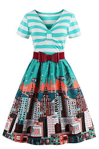 Babyonline® 2017 Elegant Damen Kurz Arm 50er 60er Jahre Rockabilly Pinup Faltenrock Abendkleider Petticoat Tanzkleid Abendkleider Cocktailkleider Partykleider ()