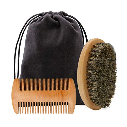 hahuha Toy  Dekompressionsspielzeug, Bartbürste Bartkamm Kit für Männer Bart Schnurrbart Holzgriff Barber Tool Set