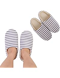 94675c766c50 Bedroom Slippers Indoor Slippers Cozy Anti-Slip Sole Washable Womens Mens  Stripe Decor Closed Toe