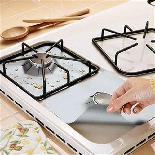 SUNMUCH Temperaturbeständigkeit 4 Stück Gasherd Schutzfolien Abdeckung Gasherd Schutz für den Küchen Gasbereich Brenner Kocher 27X27cm