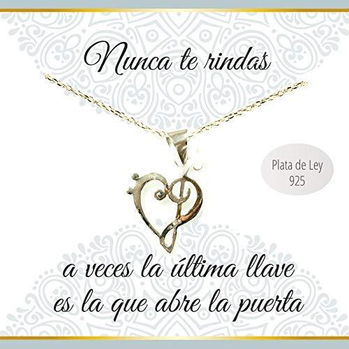 Collar con mensaje corazón clave de Sol y Fa Plata de Ley 925 - Regalos San...