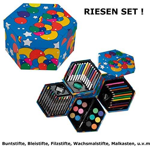 Mal Set Kinder - Farbkasten Buntstifte Bleistifte Filzstiften Wachsmalstifte Geschenk Schulstart Kind