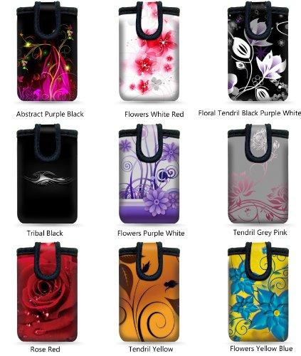 """wortek Universal Designer Handy Smartphone Tasche aus Neopren für diverse Smartphones bis zu 4,3"""" - Blumen Ranke Schwarz Weiß 33 Tendril Grey Pink"""