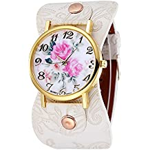 Unique Women's Arabic Numerals Peony Floral Dial Faux Leather Wide Bracelet Wrist Watch (White)