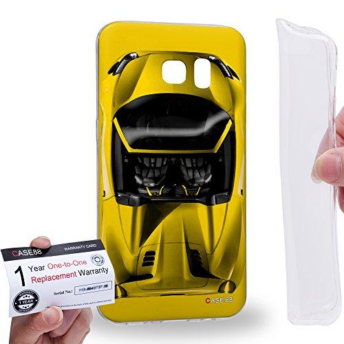 Case88 [Samsung Galaxy S7 Edge] Gel TPU Hülle / Schutzhülle & Garantiekarte - Art Design Yellow Sport Car Art1304