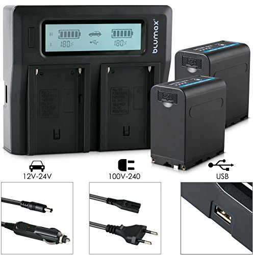 Blumax 2X Akku für Sony NP-F980/F970/F750/F550/F960 - LG Zellen - 7850mAh mit 5V USB Ausgang und DC 8,4V Ein & Ausgang + Doppelladegerät Dual Charger || KFZ 2 Akkus gleichzeitig Laden