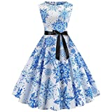 Weihnachten O-Neck Kleid HUYURI Damen Vintage Xmas Printed Sleeveless A-Line Swing Kleid