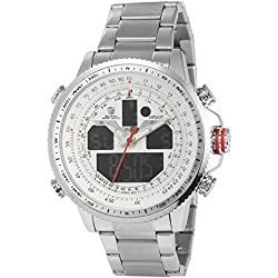 Shark Digital/Analog Armbanduhr 4,6cm Großes Uhrgehäuse Edelstahl Band SH329