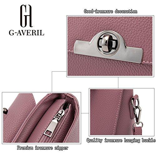 (G-AVERIL) Borsa A Spalla Donna Goffratura Geometria Borsa A Tracolla grigio1