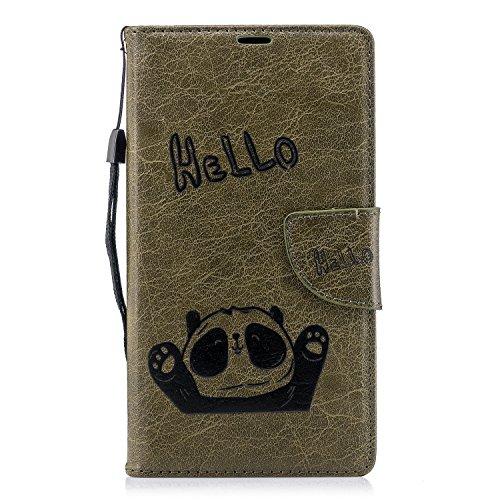 Preisvergleich Produktbild MoreChioce Sony Xperia XA2 Hülle,Sony Xperia XA2 Lederhülle, Niedlich Army Grün Hello Panda Relief Schutzhülle Klappbar Stand Flip Case Etui für Sony Xperia XA2 Handytasche mit Kartenfach